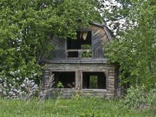 Abandoned House In Russian Village Stock Photos