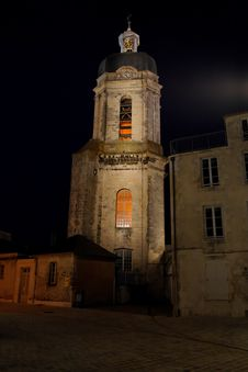Free Church At Night In La Rochelle Royalty Free Stock Photography - 9714107
