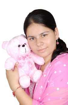 Girl Love Her Teddy Stock Images