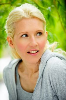 Beautiful Blond Female Relaxing In The Park Stock Photos