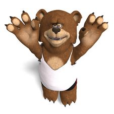 Funny Bear Plays Volleyball Stock Photo