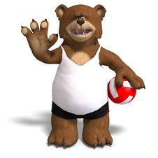 Free Funny Bear Plays Volleyball Stock Image - 9715921