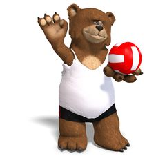 Free Funny Bear Plays Volleyball Royalty Free Stock Photography - 9715927