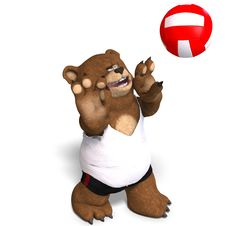 Free Funny Bear Plays Volleyball Stock Photos - 9715933