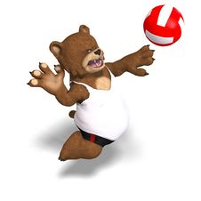 Free Funny Bear Plays Volleyball Royalty Free Stock Image - 9715936