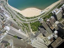 Free Chicago Business District And Beach Stock Image - 9716231