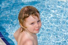 Free Little Girl In The  Pool Stock Image - 9717091