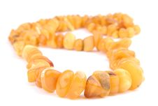 Free Beads, Necklace Of Amber On White Stock Image - 9717541