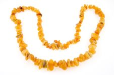 Free Beads, Necklace Of Amber On White Royalty Free Stock Photo - 9717575
