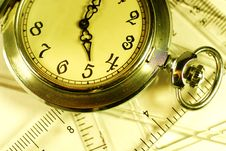 Pocket Watch And Rulers Stock Image