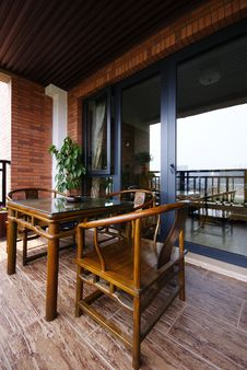 Free Table And Chairs On Porch Royalty Free Stock Image - 9719116