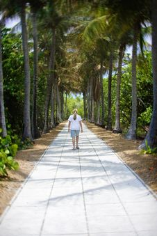 Peaceful Walk On Vacation Stock Photo