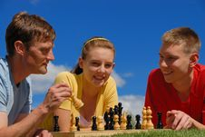 Free Father Play Chess With Children Stock Photos - 9719593