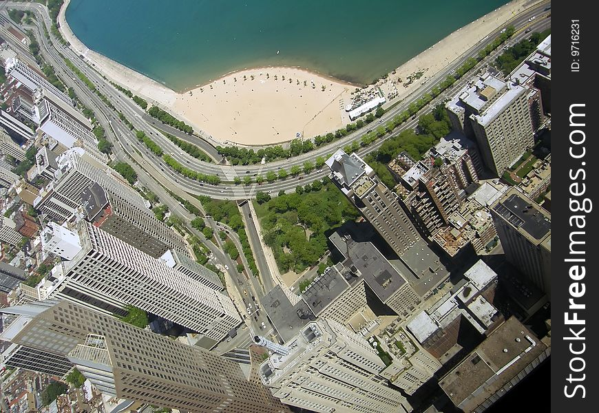 Chicago business district and beach