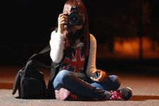 Free Woman In White Long Sleeve Shirt Taking Picture During Nightie Stock Image - 97145601