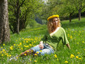 Free Curly Girl With Dandelion Chain On Head Stock Photo - 9721440