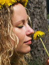Free Curly Girl And Dandelion Royalty Free Stock Photo - 9721905
