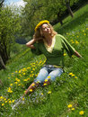 Free Curly Girl With Dandelion Chain On Head Stock Photo - 9727210