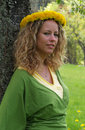 Free Curly Girl With Dandelion Chain On Head Stock Image - 9727331