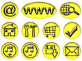 Free Your Yellow & Black Shiny Web Button Icons Are Rea Stock Photography - 9729972