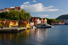 Houses And Boats By The Sea Royalty Free Stock Image