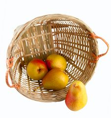 Pears In A Basket With Clipping Path Stock Images