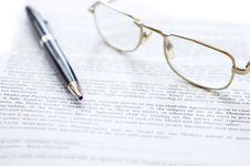 Free Close-up Of Document, Eyeglasses And Pen. Stock Image - 9721981