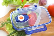 Salad From Vegetables In The Container. Royalty Free Stock Images