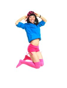 Free Happy Jumping Girl Royalty Free Stock Image - 9722236