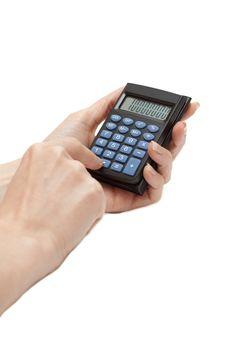Calculator In Feminine Hand Stock Photography