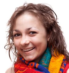 Free Beautiful Girl, Smiles In Colour Towel Royalty Free Stock Image - 9722586