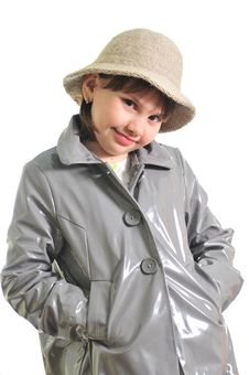 Free Beautiful Girl In The Raincoat Royalty Free Stock Images - 9722689