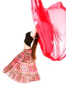 Free Girl Dancing With Red Scarf Royalty Free Stock Photo - 9723585