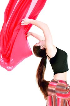 Free Girl Dancing With Red Scarf Stock Photography - 9723622