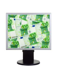 Free Computer Monitor With Money Stock Photography - 9726522