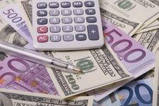 Free Money, Pen And Calculator Stock Photos - 9729623