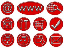 Free Your Red & Gray Shiny Web Button Icons Are Ready Stock Image - 9729941