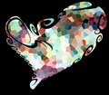 Free Isolated Heart. Playful Design On Black Background. Stock Image - 97233141