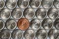 Free Euro Coin Among Russian Coins Stock Photography - 9733862