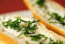 Free Big Detail Of Bread Roll With Chives Stock Image - 9730911