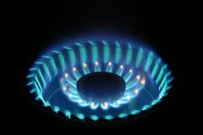 Free Blue Flame On Gas Stove Stock Image - 9731851