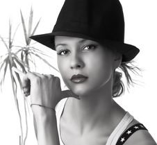 Free Beautiful Woman With Black Hat Stock Image - 9732091