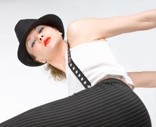 Young Blondy Girl With Black Hat Stock Photos
