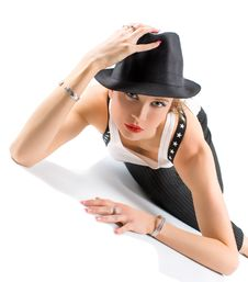 Young Blondy Girl With Black Hat Stock Photo