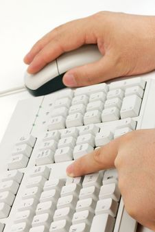 Free Male Hand Typing. Royalty Free Stock Photography - 9732287