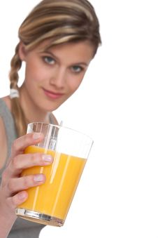 Free Healthy Lifestyle Series - Woman With Orange Juice Stock Photos - 9732523