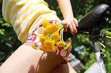 Young Teen Girl With Dandelions On A Bike Stock Images