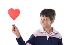 Free Funny Child With Lollipop With Heart-shaped Stock Photography - 9732722