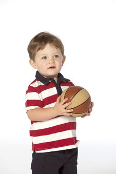 Little Boy With Basket Ball Royalty Free Stock Photos