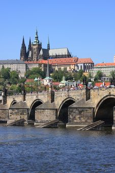 Prague Castle & Charles Bridge Royalty Free Stock Photo